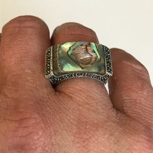Vintage Sterling silver abalone marcasite ring 6